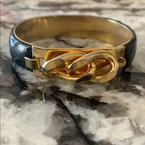 Vita 24KT Gold & Black Italian Leather Bracelet